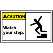 Graphic Machine Labels - Caution Watch Your Step