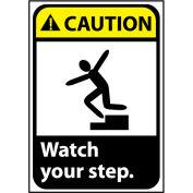Caution Sign 10x7 Rigid Plastic - Watch Your Step