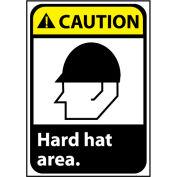Caution Sign 10x7 Rigid Plastic - Hard Hat Area
