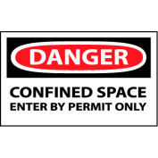 Machine Labels - Danger Confined Space Enter By Permit