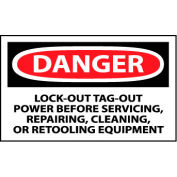Machine Labels - Danger Lock-Out Tag-Out Power Before Servicing