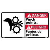 Bilingual Vinyl Sign - Danger Pinch Points