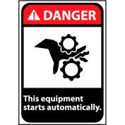 Danger Sign 14x10 Vinyl - Equipment Starts Automatically