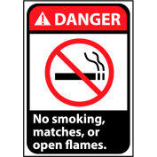 Danger Sign 10x7 Rigid Plastic - No Smoking, Matches Or Open Flames