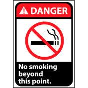 Danger Sign 14x10 Rigid Plastic - No Smoking Beyond This Point
