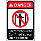 Danger Sign 10x7 Vinyl - Permit Required Do Not Enter