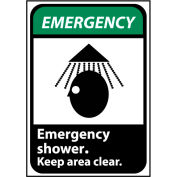 Emergency Sign 14x10 Aluminum - Emergency Shower Keep Area Clear