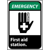 Emergency Sign 14x10 Rigid Plastic - First Aid Station