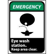 Emergency Sign 14x10 Aluminum - Eye Wash Station Keep Area Clear