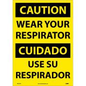 Bilingual Vinyl Sign - Caution Wear Your Respirator