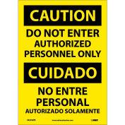 Bilingual Vinyl Sign - Caution Do Not Enter Authorized Personnel Only