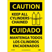 Bilingual Vinyl Sign - Caution Keep All Cylinders Chained