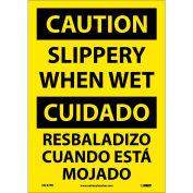 Bilingual Vinyl Sign - Caution Slippery When Wet