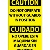 Bilingual Machine Labels - Caution Do Not Operate Without Guards In Position