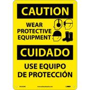 Bilingual Plastic Sign - Caution Wear Protective Equipment