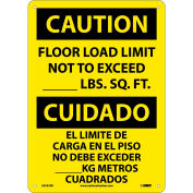 Bilingual Plastic Sign - Caution Floor Load Limit Not To Exceed