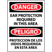 Bilingual Machine Labels - Danger Ear Protection Required In This Area