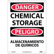 Bilingual Aluminum Sign - Danger Chemical Storage