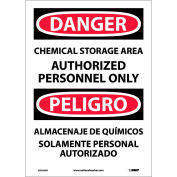 Bilingual Vinyl Sign - Danger Chemical Storage Area Authorized Personnel Only