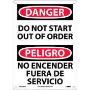 Bilingual Plastic Sign - Danger Do Not Start Out Of Order