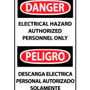 Bilingual Machine Labels - Danger Electrical Hazard Authorized Personnel Only