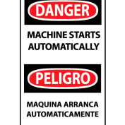 Bilingual Machine Labels - Danger Machine Starts Automatically