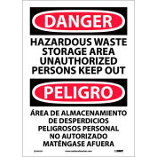 Bilingual Vinyl Sign - Danger Hazardous Waste Storage Area Unauthorized Keep Out