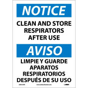 Bilingual Vinyl Sign - Notice Clean And Store Respirators After Use