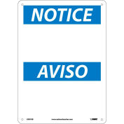 Bilingual Plastic Sign - Notice Blank