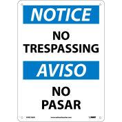 Bilingual Aluminum Sign - Notice No Trespassing