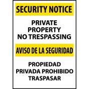 Security Notice Aluminum - Private Property No Trespassing Bilingual