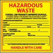 Hazardous Waste Vinyl Labels - For Specific Chemical Identification