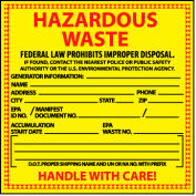 Hazardous Waste Paper Labels - For Specific Chemical Identification