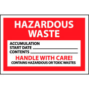 Hazardous Waste Paper Labels - Hazardous Waste Handle With Care