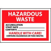 Hazardous Waste Paper Labels - Hazardous Waste Handle With Care