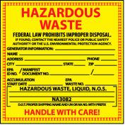 Hazardous Waste Vinyl Labels - For Liquids
