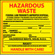 Hazardous Waste Vinyl Labels - For Solids