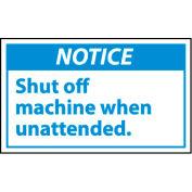 Graphic Machine Labels - Notice Shut Off Machine When Unattended