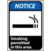 Notice Sign 14x10 Rigid Plastic - Smoking Permitted In This Area