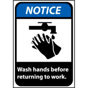 Notice Sign 10x7 Vinyl - Wash Hands Before Returning To Work