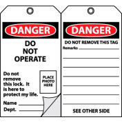 Self-Laminating Lockout Tags - Do Not Operate with Picture