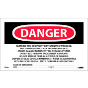 Roll of 500 Hazard Warning Paper Labels - Danger Contains Lead Contaminates
