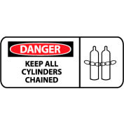 Pictorial OSHA Sign - Vinyl - Danger Keep All Cylinders Chained