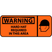 Pictorial OSHA Sign - Vinyl - Warning Hard Hat Required In This Area