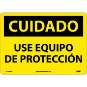 Spanish Plastic Sign - Cuidado Use Equipo De Proteccion