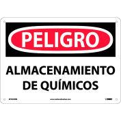 Spanish Plastic Sign - Peligro Almacenamiento De Químicos