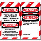 Bilingual Lockout Tags - This Tag & Lock To Be Removed Only By The Person Shown