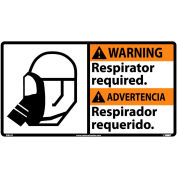 Bilingual Vinyl Sign - Warning Respirator Required