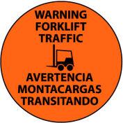 Walk On Floor Sign - Warning Forklift Traffic - Bilingual