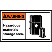 Graphic Machine Labels - Warning Hazardous Materials Storage Area